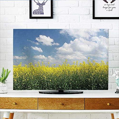 Auraisehome protege tu televisor con dibujos animados ilustración de palmeras y cangrejos en la playa, diseño de cielo nublado, protege tu televisor de 48,26 cm de ancho x 76,2 cm de alto /