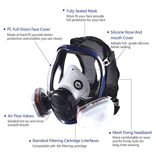 Phoenixfly99 Organic Vapor Full Face Respirator Safety Mask With Visor Protection For Paint, chemicals, polish (6800 Full face respirator+1 Pair 3# Filter) by Phoenixfly99 (Image #4)
