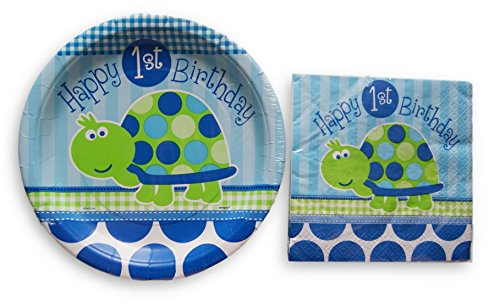Boys First Birthday Party Supply Kit - Napkins and Plates ()