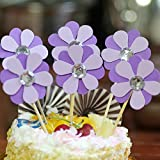 NOMSOCR 6Pcs Beautiful Flowers Cupcake Cake Toppers Dessert Table Food Picks for Kids Birthday Party Decorations Supplies (Purple, 6Pcs)
