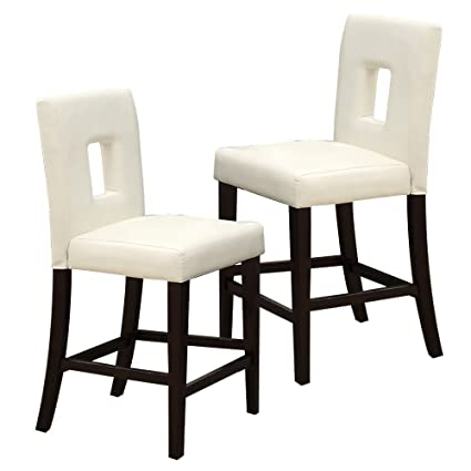 Elegant Poundex White Leather Counter Height Parson High Chairs Bar Stool, Set Of 2