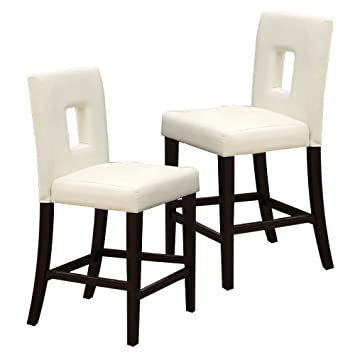 Poundex White Leather Counter Height Parson High Chairs Bar Stool, Set Of 2
