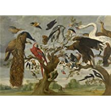 Oil painting 'Jan van Kessel I - The Mockery of the Owl, 17th century' printing on Perfect effect Canvas , 18x25 inch / 46x63 cm ,the best Bedroom decor and Home decoration and Gifts is this High quality Art Decorative Prints on Canvas