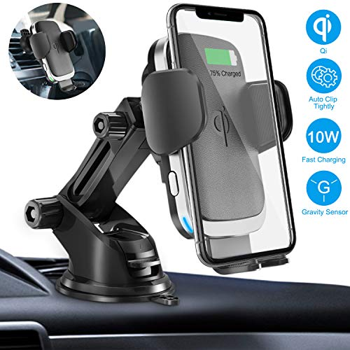Wireless Car Charger Mount, Cshidworld Auto Clamping 10W/7.5W Qi Fast Charging Car Mount, Windshield Dashboard Air Vent Phone Holder Compatible with iPhone 11 Xs Max XR 8 Plus, Samsung S10 S9 S8