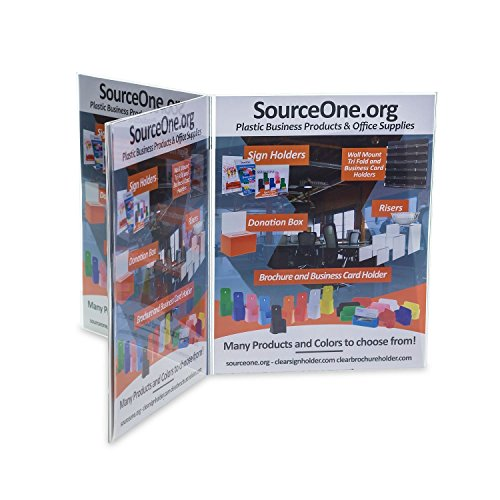 Source One 6 Panel Sided Acrylic Table Tent Sign Holder Table Top Menu Holder (8 1/2 x 11 Inch) -