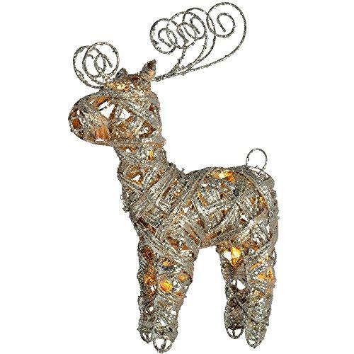 WeRChristmas Pre-Lit Silver Woven Rattan Warm White Led Reindeer, Dusting Of Glitter, 40 Cm - Multi-Colour (Glitter Silver Reindeer)