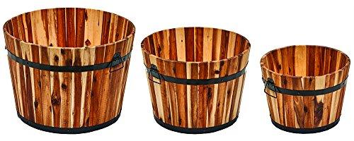 (Worth Imports Sturdy Nested Wood Barrel Planter Set Small, Medium, Large 3 Piece)