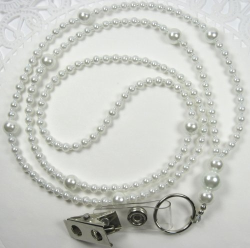 White Pearl Glass Beaded Lanyard Necklace ID Badge Holder