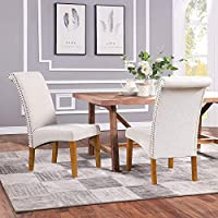 Romatpretty 2-Set of Fabric Padded Upholstered Side Dining Chair (Beige)