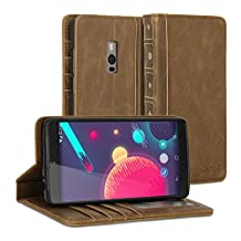 OnePlus Two Case, GMYLE Book Case Vintage for OnePlus Two - Brown PU Leather Stand Case Cover