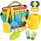 INNOCHEER Kids Gardening Tools, 7 Piece Garden tool set for Kids with Watering Can, Gardening Gloves, Shovel, Rake, Trowel and Kids Smock, All in One Gardening Tote