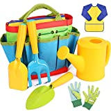 INNOCHEER Kids Gardening Tools, 7 Piece Garden tool set for Kids with Watering Can, Gardening Gloves, Shovel, Rake, Trowel and Kids Smock, All in One Gardening Tote