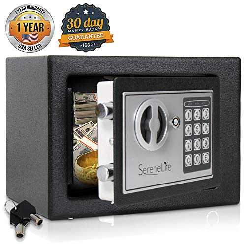 Compact Box - Digital Electronic Mechanical Lock Safe - Fireproof Dual Locking Security Storage Deposit Drop Box with Wall and Floor Mount Bolt, 2 Key, 4 AA Battery - File Gun Cash Jewelry - SereneLife SLSFE11