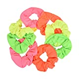 Set of 8 Neon Color Solid Scrunchies Hair Scrunchy