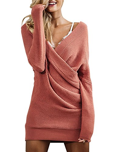 BerryGo Women's Sexy Off Shoulder Wrap V Neck Knit Sweater Dress Brick Red,One Size