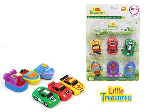 Little Treasures Bathtub Toys For Kids, Bathtime Bath toys Vehicles And Boats (6 Pack)