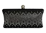 Chicastic Black and White Rhinestone Crystal Hard Box Wedding Evening Bag Bridal Cocktail Clutch Purse, Bags Central