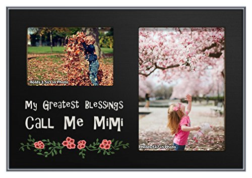 ThisWear Grandma Mimi Gifts My Greatest Blessings Call Me Mimi Black Wood 2-Photo Plaque Picture Frame Black