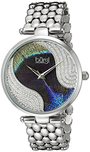 Burgi Women's Genuine Swarovski Crystal Peacock Feather Pattern Dial With Silver-Tone Case on Silver-Tone Stainless Steel Bracelet Watch BUR162SS