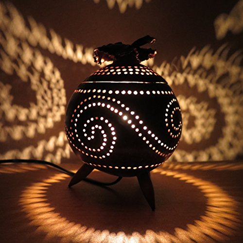 Handmade Wooden Bedside Table Lamps made of Coconut Shell - Asian Wood Night Light Shades