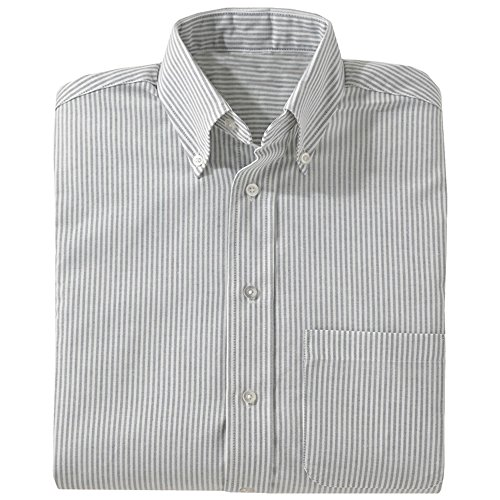 Edwards Short Sleeve Oxfords (Ed Garments Women's Easy Care Long Sleeve Oxford Shirt, GREY STRIPE, XXX-Large)