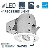 Nadair GU378L-SWWH 4in LED Recessed Light Swivel Spotlight Dimmable Downlight - IC Rated - 3000K Warm White GU10 550 Lumens Bulb (50 Watts Equivalent) Included, White Color