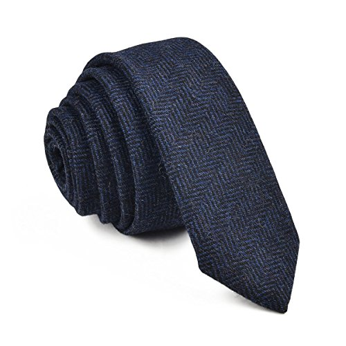 VOBOOM Mens Necktie Skinny Tie Tweed Pattern Woolen Neck Tie-many colors (06 Navy)