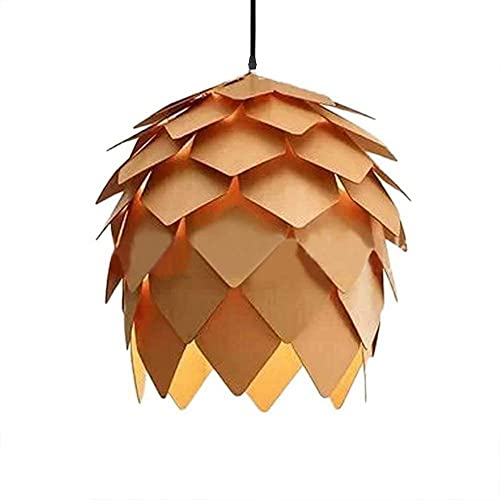 KIRIN Pendant Hanging Light Fixture Lamp Wood Artichoke Creative Modern Chandeliers Hand Craft Pine Cone Contemporary Style E26 for Bar Restaurant Light Living Room 9.84 Inch