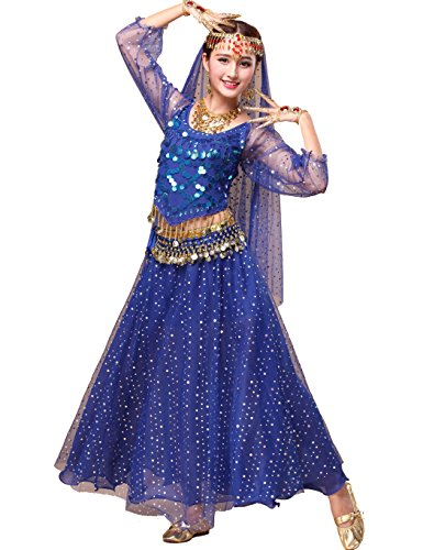 Astage Women`s Professional Belly Dance Costume,Long Sleeve Tops With Skirt Dark Blue,All Accessories from Astage