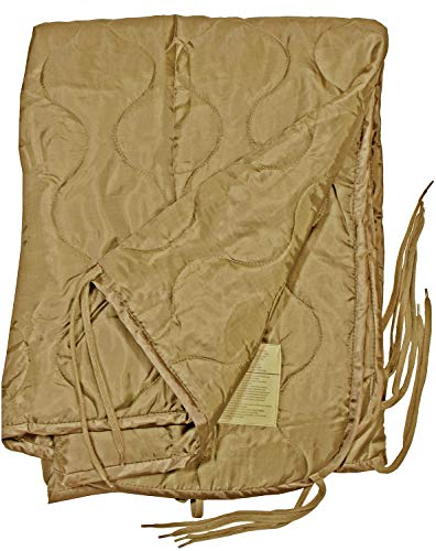 Military Quilted Poncho Liner Hiking Blanket Camping Sleeping Bag Ripstop Coyote ()