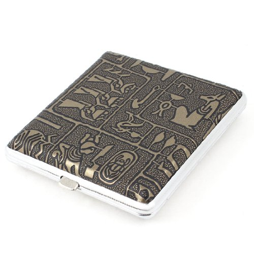 Textured Ancient People Printed Cigarette Case Bronze Tone