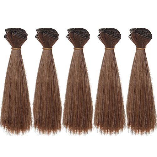 5pcs/lot,15x100cm Straight Deep Brown Heat Resistant Hair Pieces for Handcraft Doll Wigs