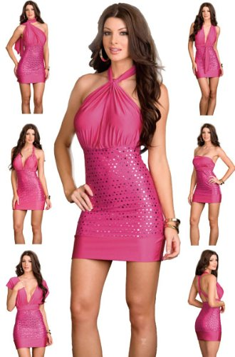 Amazon.com: Sexy Pink Club Dress and Thong - 6 Way Style - One ...