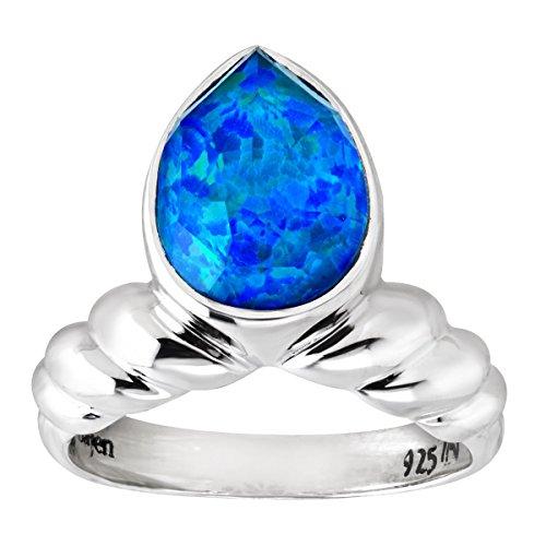 Sajen Natural Blue Opal Quartz Doublet Ring in Sterling ()