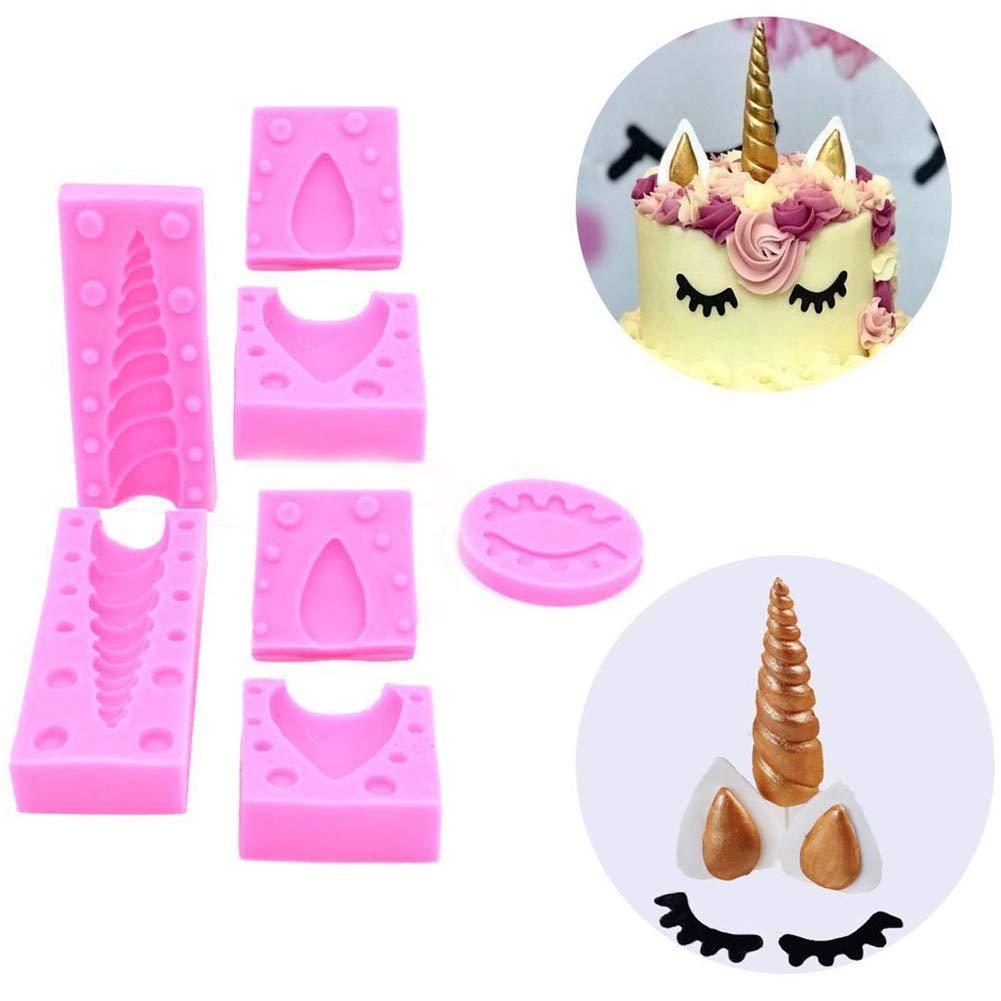 Wilk 7pcs-Licorne Sourcils Moisissures Oreille Durable Corne Silicone Moule /à p/âtisserie Moules pour Fondant G/âteau Sucre Glace