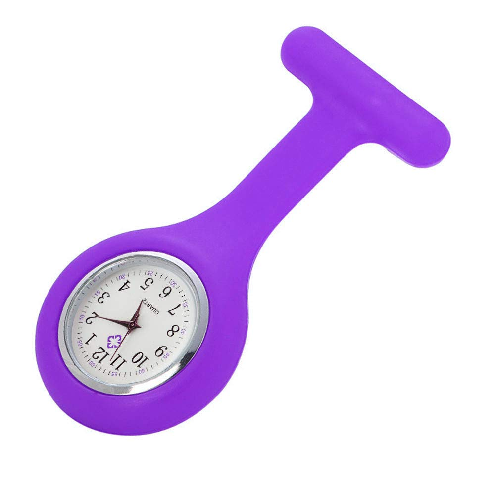 Wrist Watches for Women, Silicone Nurse Watch Brooch Tunic Fob Watch with Free Battery Doctor Medical,Smartwatches,Purple,Girls Watches