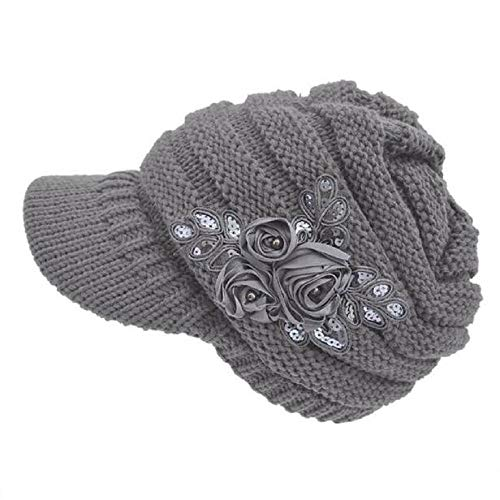 HGWXX7 Women's Soft Cable Knit Cancer Cap Visor Hat Newsboy Caps with Flower Accent(Gray)
