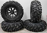 Bundle - 9 Items: MSA Black Kore 14'' ATV Wheels 30'' Roctane Tires [4x156 Bolt Pattern 12mmx1.5 Lug Kit]