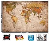 best world map wall murals GREAT ART XXL Poster World map photo wallpaper vintage retro motif - XXL world map mural - wall art decoration 55 Inch x 39.4 Inch