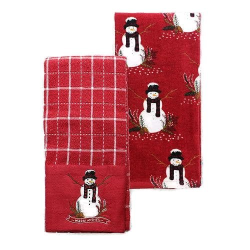 Christmas Kitchen Dish Towels Decor Snowman - Set of 2 - Winter Dish Towels