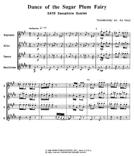 Dance of the Sugar Plum Fairy for Saxophone Quartet by P. Tschaikowsky by P. Tschaikowsky
