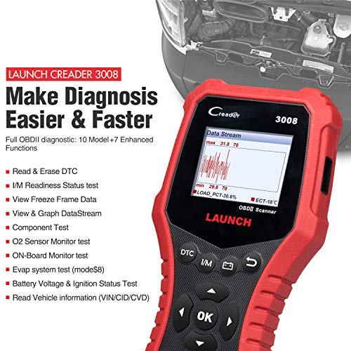 LAUNCH Creader 3008 2018 OBD2 Scanner Engine Scan Tool Automotive Diagnostic Tool with Battery Test and Print Function, Support O2 Sensor/Evap System Test/Check Engine Light/Graph Data Stream by LAUNCH (Image #1)