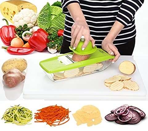 Mandoline Slicer - Vegetable Potato Slicer Grater - Cutter for Tomato, Onion, Cucumber, Zucchini Pasta, Cheese - Julienne Veggie Peeler Chopper - Vegetables Food Storage, 5 Blades and Hand - Tomato Pro Cutter