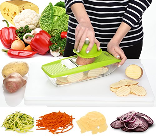 Vegetable Mandoline Slicer - Cheese Grater - Cutter for Potato, Onion, Tomato, Cucumber, Zucchini Pasta - Julienne Veggie Peeler Chopper - Food Storage for Vegetables, 5 Blades and Hand Protector (Grater Chopper compare prices)