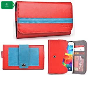 EXCLUSIVE * UNISEX * SMARTPHONE HOLDER WITH INTERNAL CARD SLOTS- ADDED BELT LOOP FOR EASY CARRYING- - RED/BLUE - FITS Nokia Lumia 1520