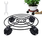 12.5'' Heavy Duty Black Iron Plant Caddy - Metal Plant Stand With Wheels Round Flower Pot Rack Plant Stand On Rollers Dolly Plant holders on Wheels Indoor Outdoor Plant Saucers
