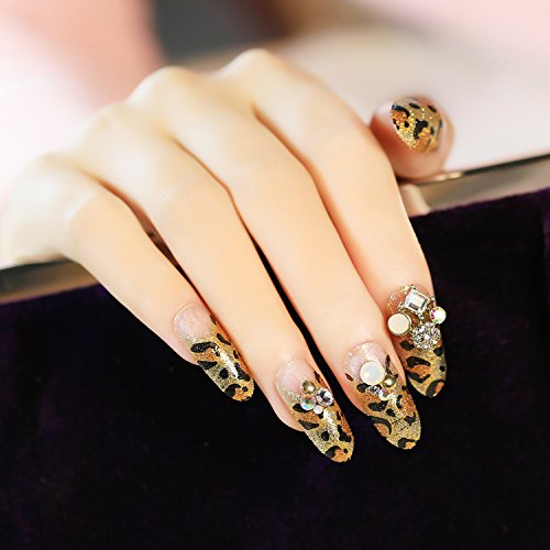 Leopard Finger Nails (Fashion Fake Nail-The Personalized And Sexy Shining Long Size Small Round Head Gold Leopard Print Fake Nail For Women)