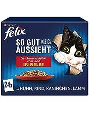 FELIX Zo goed als het eruit ziet, kattenvoer nat in gelei, variëteitenmix, verpakking van 4 (4 x 24 zakken à 85 g)