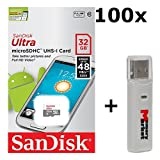 100 PACK - SanDisk Ultra 32GB UHS-I Class 10 MicroSDHC Memory Card Up to 48mb/s SDSQUNB-032G LOT OF 100 with USB 2.0 MemoryMarket dual slot MicroSD & SD Memory Card Reader