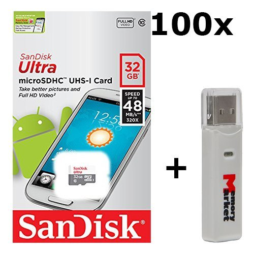 100 PACK - SanDisk Ultra 32GB UHS-I Class 10 MicroSDHC Memory Card Up to 48mb/s SDSQUNB-032G LOT OF 100 with USB 2.0 MemoryMarket dual slot MicroSD & SD Memory Card Reader by SanDisk